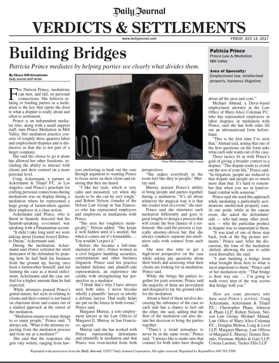 Patricia Prince in the Daily Journal